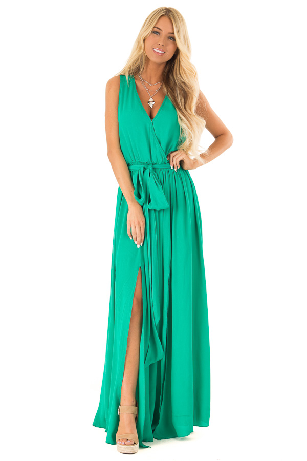 c71d7096532e Kelly Green Surplice Sleeveless Maxi Dress with Front Tie front full body