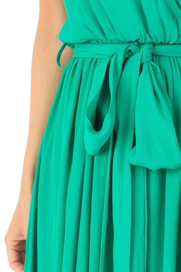 Kelly Green Surplice Sleeveless Maxi Dress with Front Tie detail