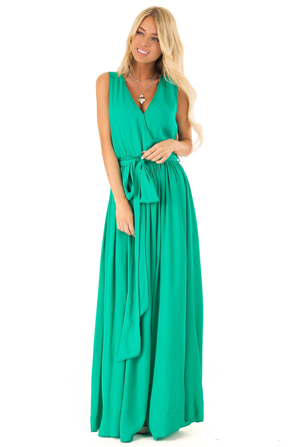 Kelly Green Surplice Sleeveless Maxi Dress with Front Tie front full body