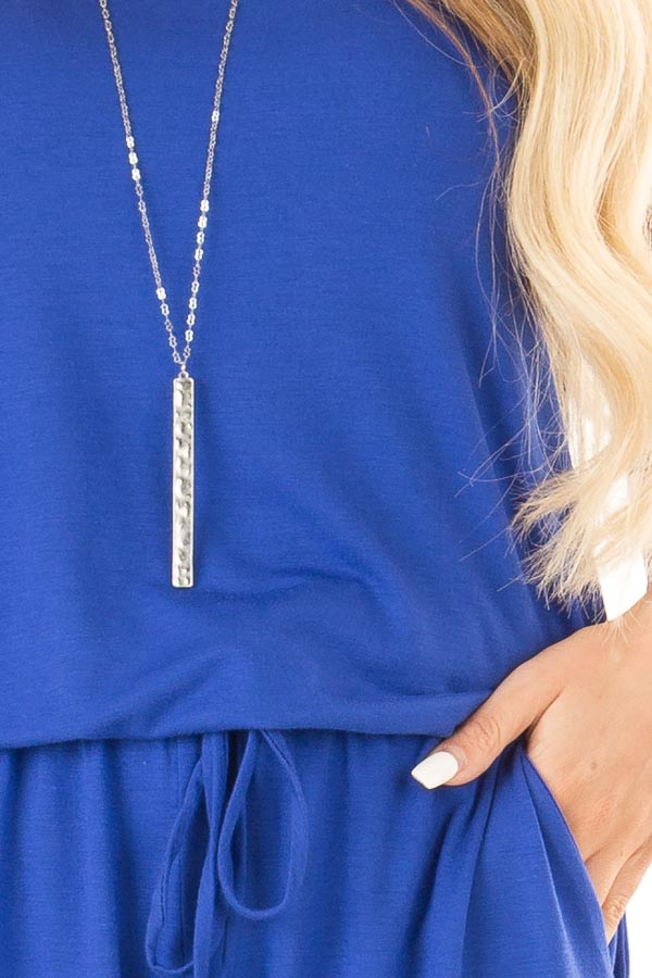 Royal Blue Sleeveless Romper with Front Tie and Pockets detail