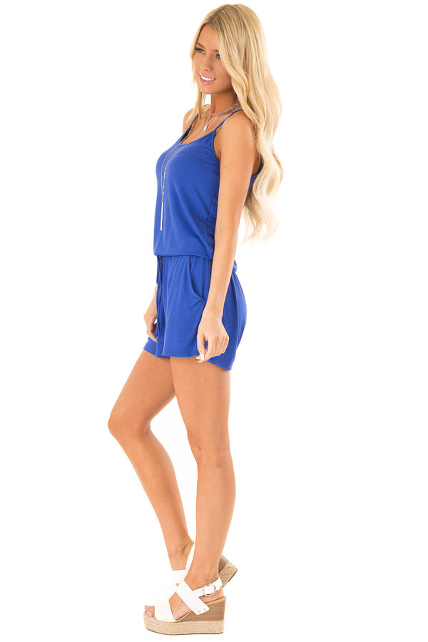 Royal Blue Sleeveless Romper with Front Tie and Pockets side full body