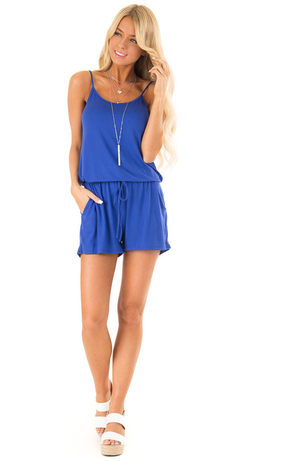 Royal Blue Sleeveless Romper with Front Tie and Pockets front full body