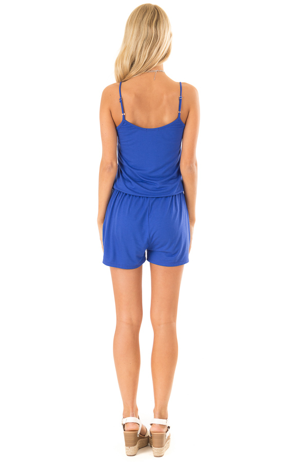 Royal Blue Sleeveless Romper with Front Tie and Pockets back full body