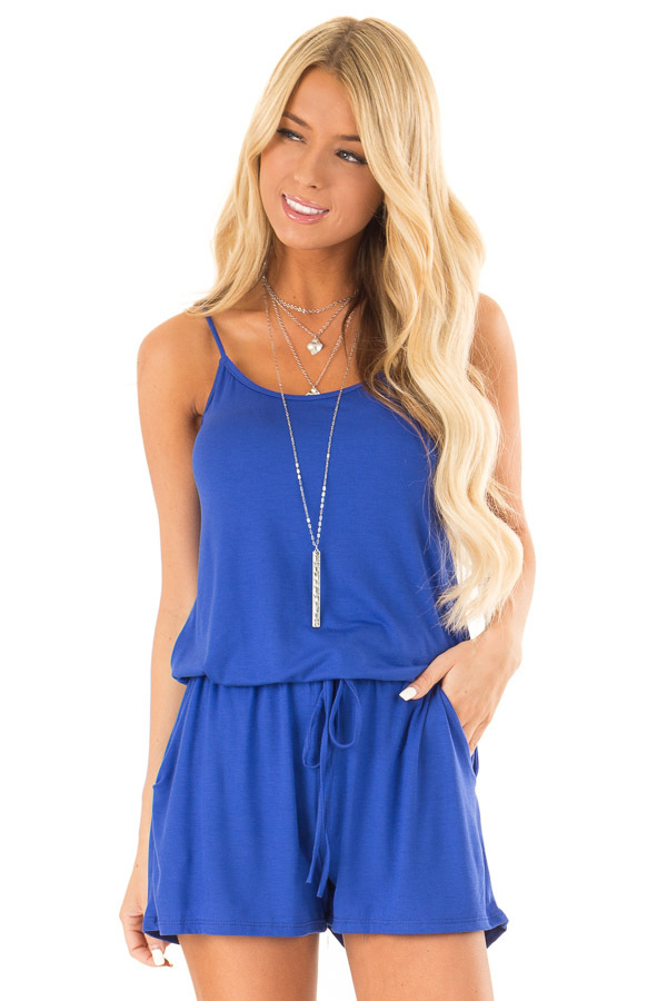 Royal Blue Sleeveless Romper with Front Tie and Pockets front close up