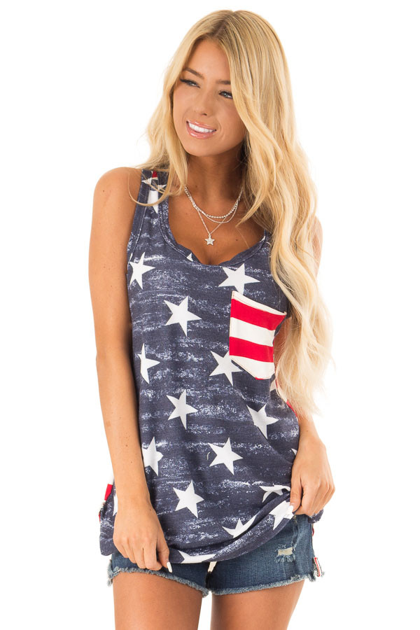 Faded Blue and Ivory American Flag Print Racerback Tank Top front close up