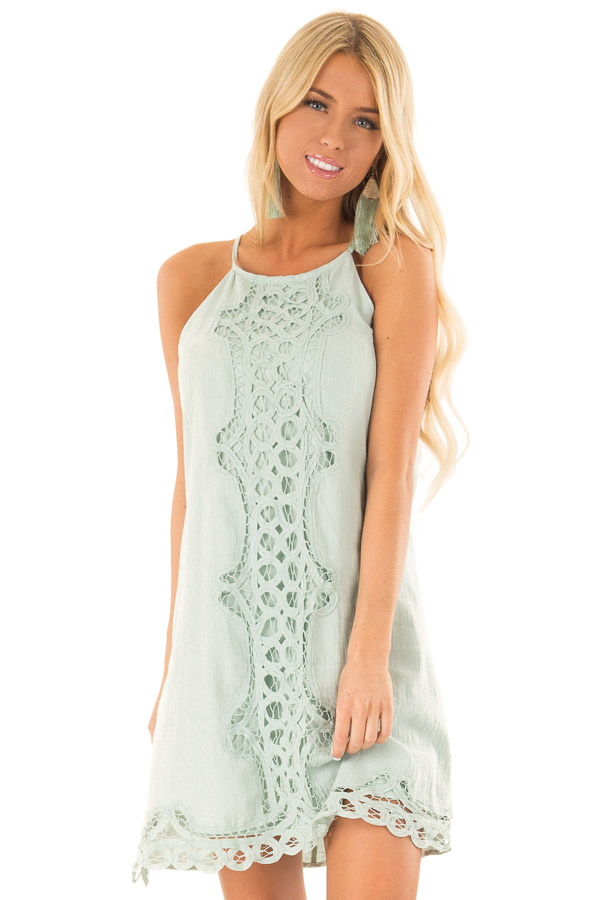 Sage High Neck Spaghetti Strap Dress with Lace Contrast front close up