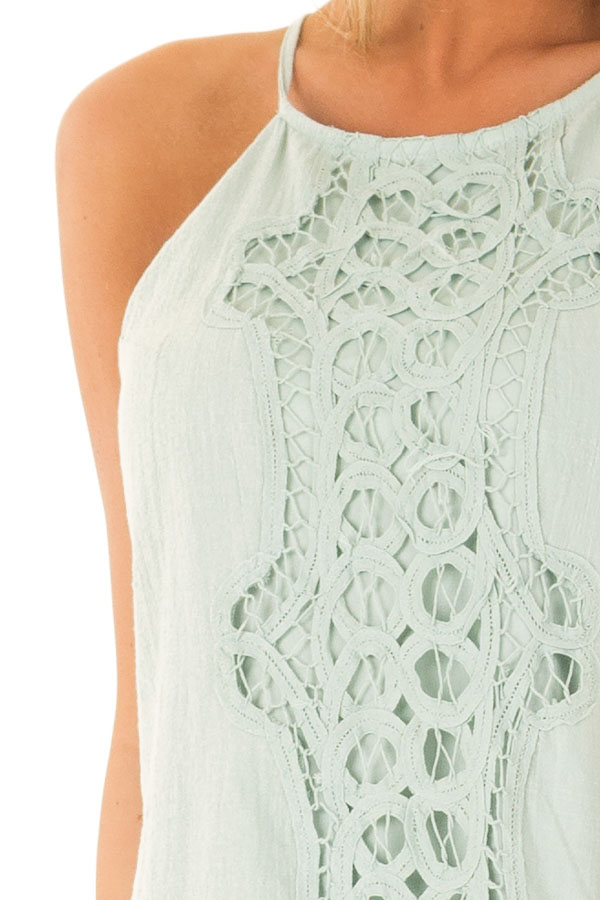 Sage High Neck Spaghetti Strap Dress with Lace Contrast detail
