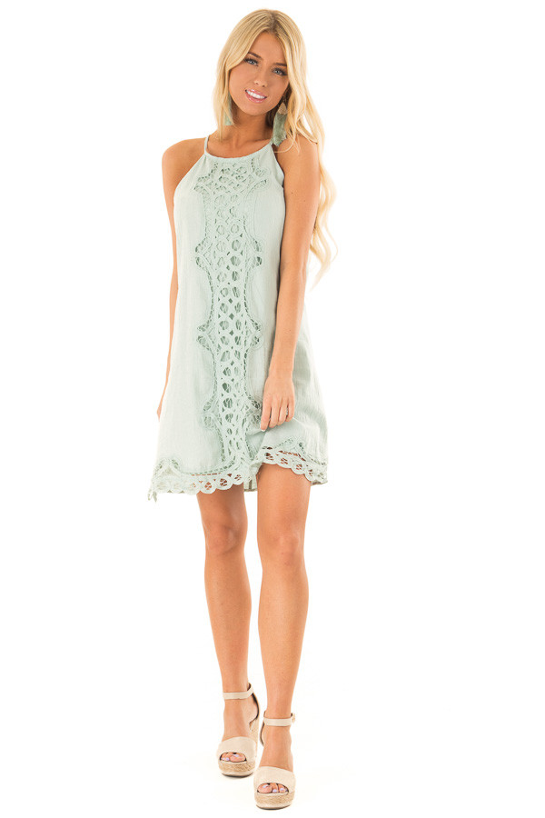 Sage High Neck Spaghetti Strap Dress with Lace Contrast front full body