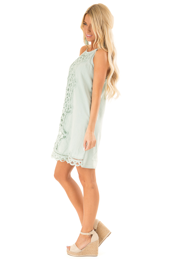 Sage High Neck Spaghetti Strap Dress with Lace Contrast side full body