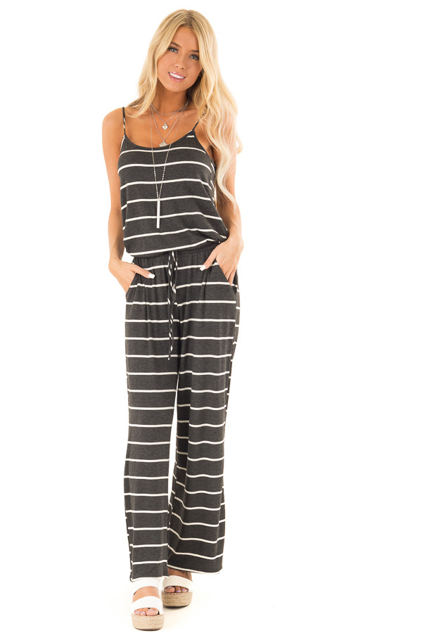 Charcoal Striped Spaghetti Strap Jumpsuit with Waist Tie front full body