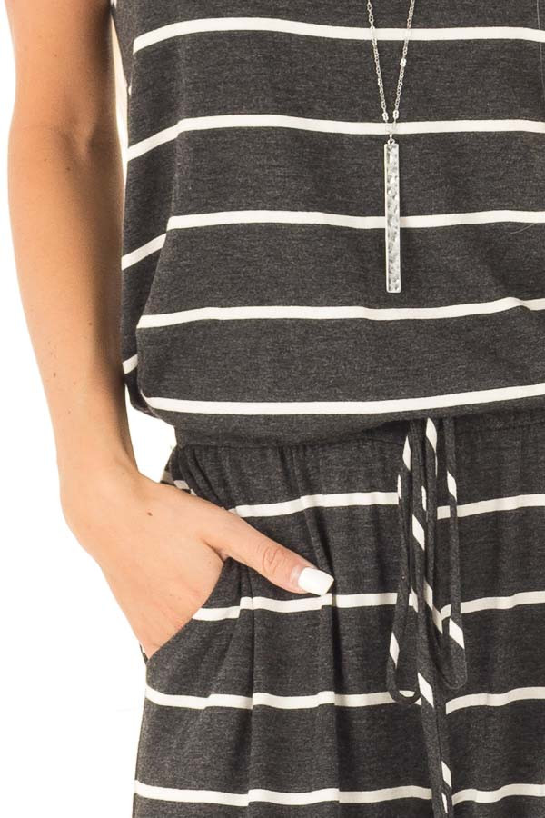 Charcoal Striped Spaghetti Strap Jumpsuit with Waist Tie detail