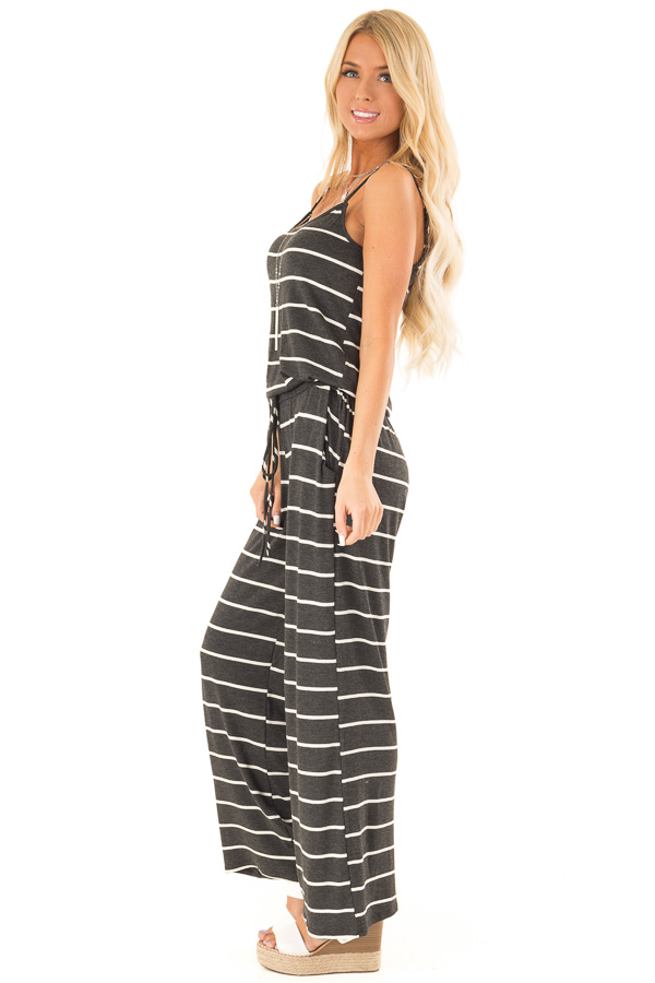 Charcoal Striped Spaghetti Strap Jumpsuit with Waist Tie side full body