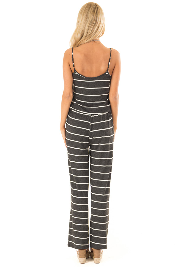 Charcoal Striped Spaghetti Strap Jumpsuit with Waist Tie back full body