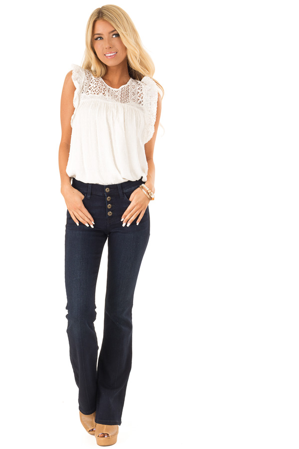 Dark Wash Mid Rise Flare Jeans front full body