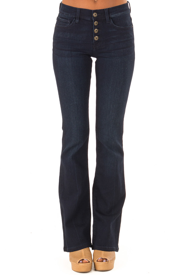 Dark Wash Mid Rise Flare Jeans front view