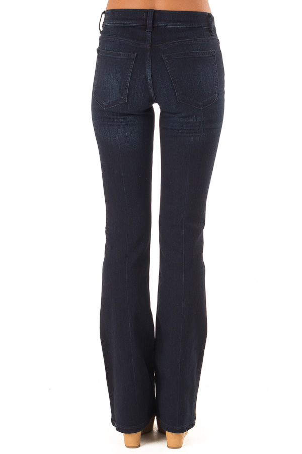 Dark Wash Mid Rise Flare Jeans back view