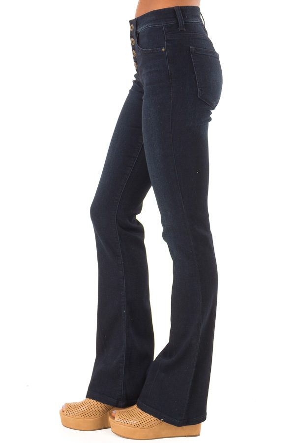 Dark Wash Mid Rise Flare Jeans side view