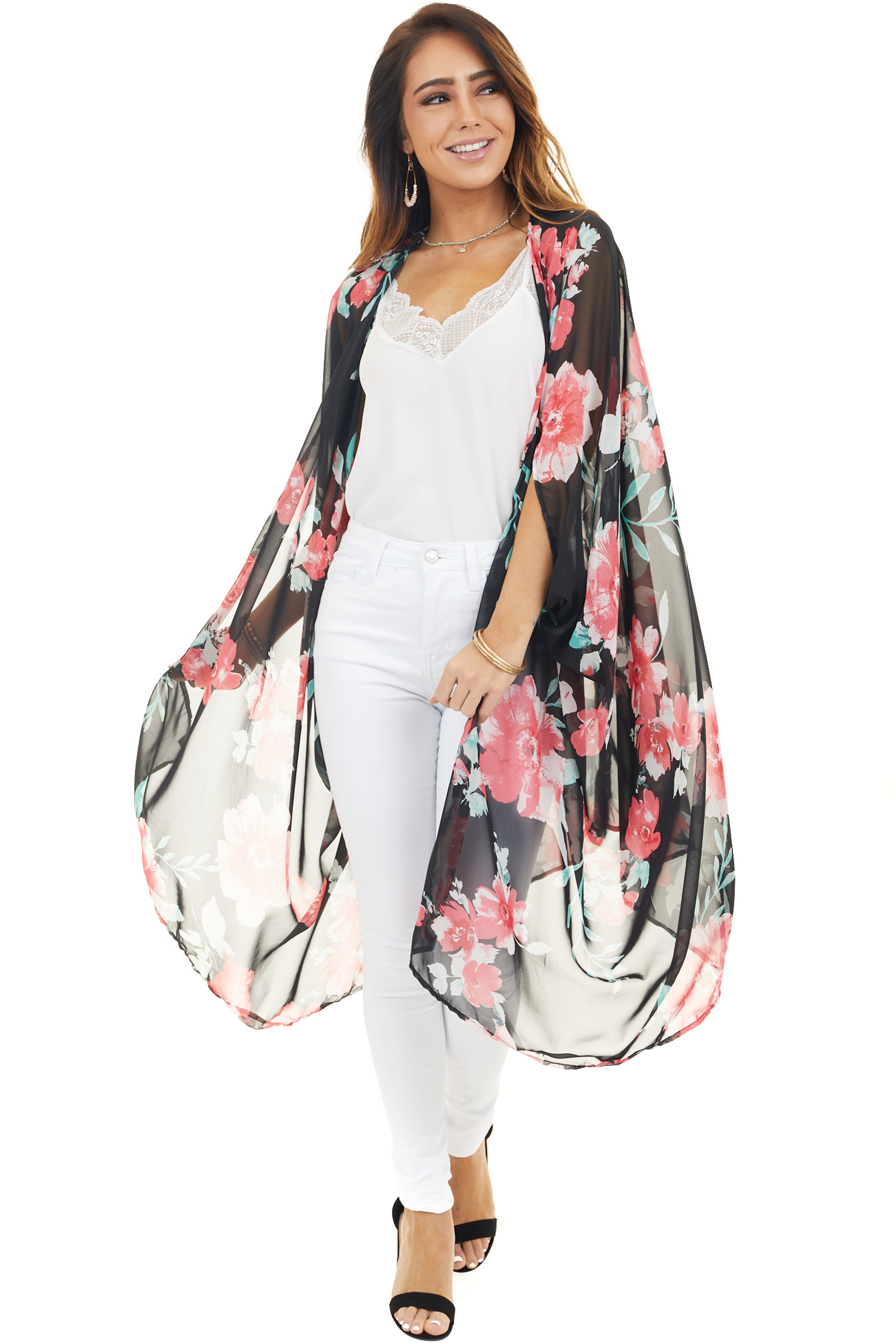 Black and Punch Pink Open Front Floral Print Sheer Kimono