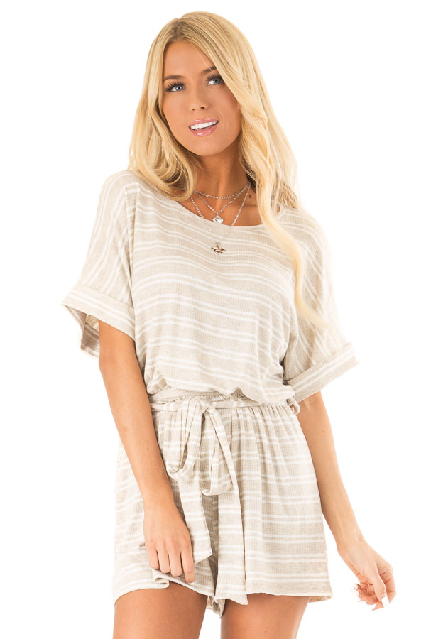 Oatmeal and White Striped Romper with Waist Tie front close up