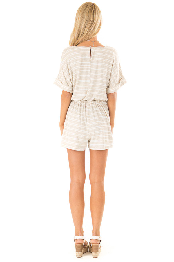Oatmeal and White Striped Romper with Waist Tie back full body