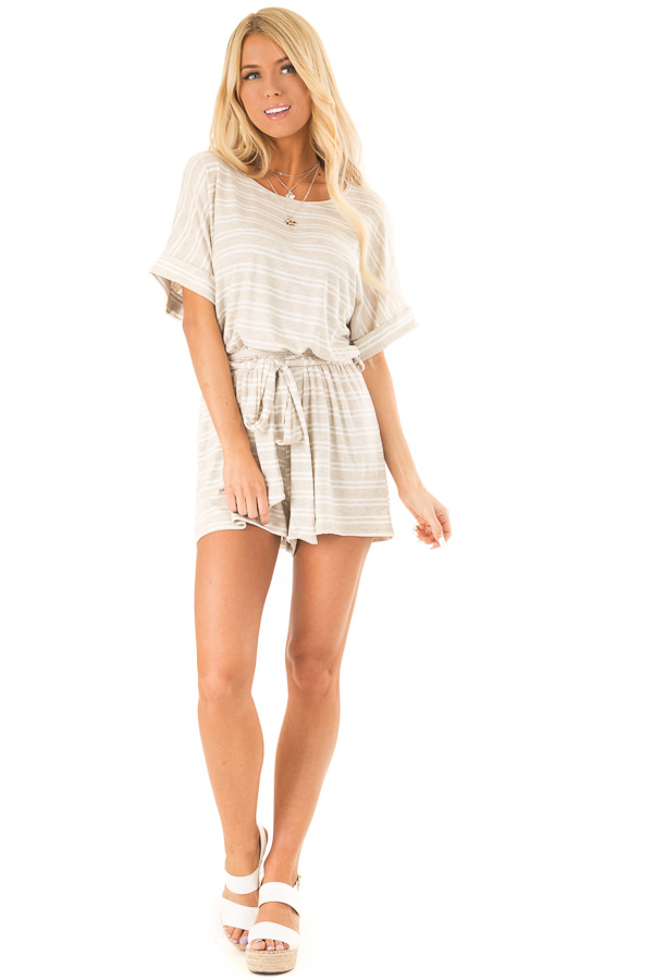 Oatmeal and White Striped Romper with Waist Tie front full body