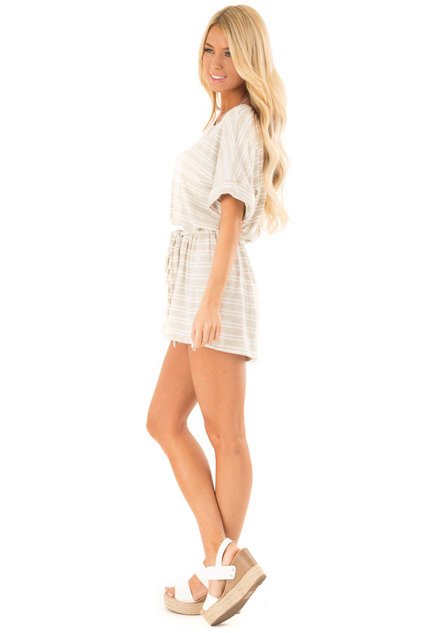Oatmeal and White Striped Romper with Waist Tie side full body