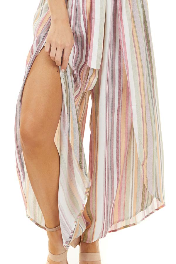 Faded Multicolor Striped Strapless Jumpsuit with Waist Tie