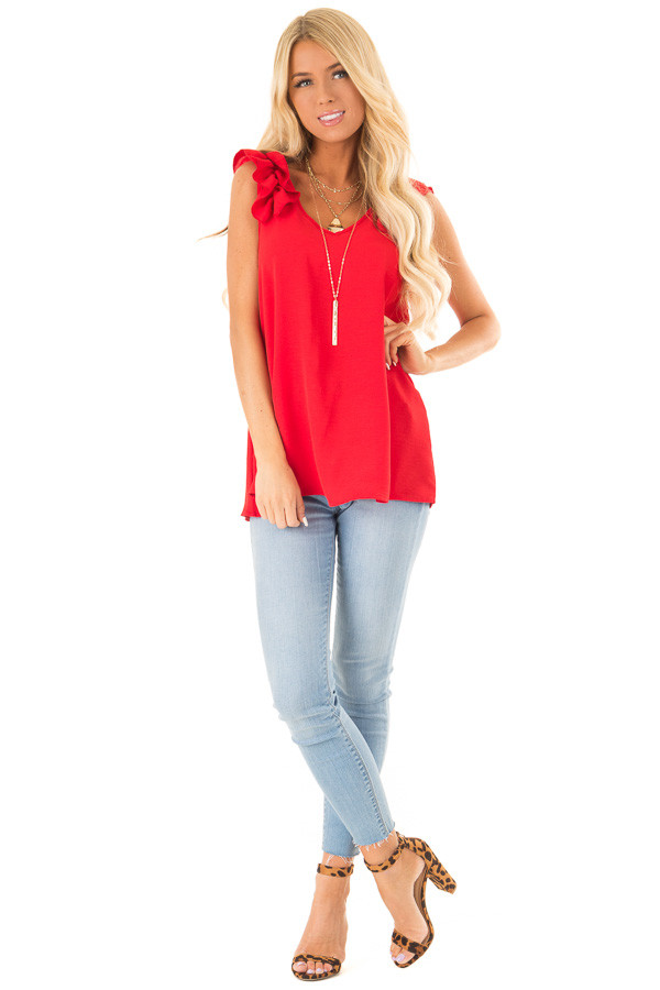 Firetruck Red V Neck Top with Ruffle Cap Sleeves front full body