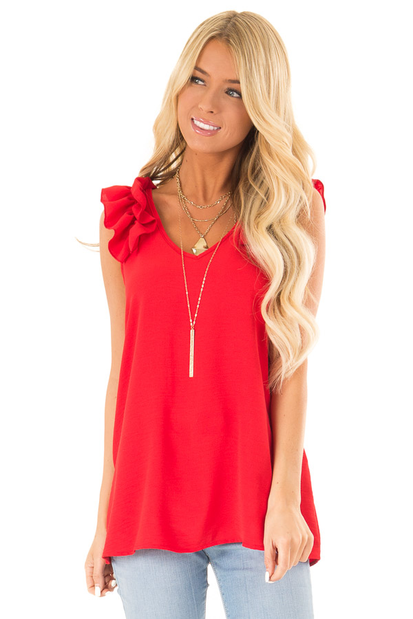 Firetruck Red V Neck Top with Ruffle Cap Sleeves front close up