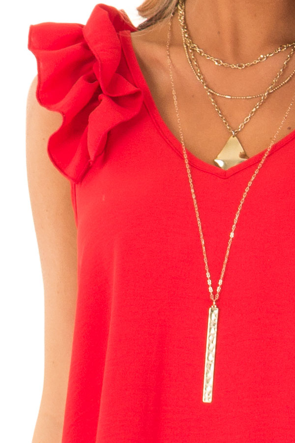 Firetruck Red V Neck Top with Ruffle Cap Sleeves detail