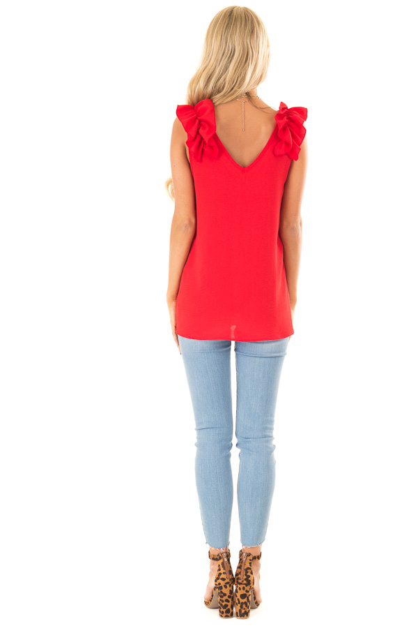Firetruck Red V Neck Top with Ruffle Cap Sleeves back full body