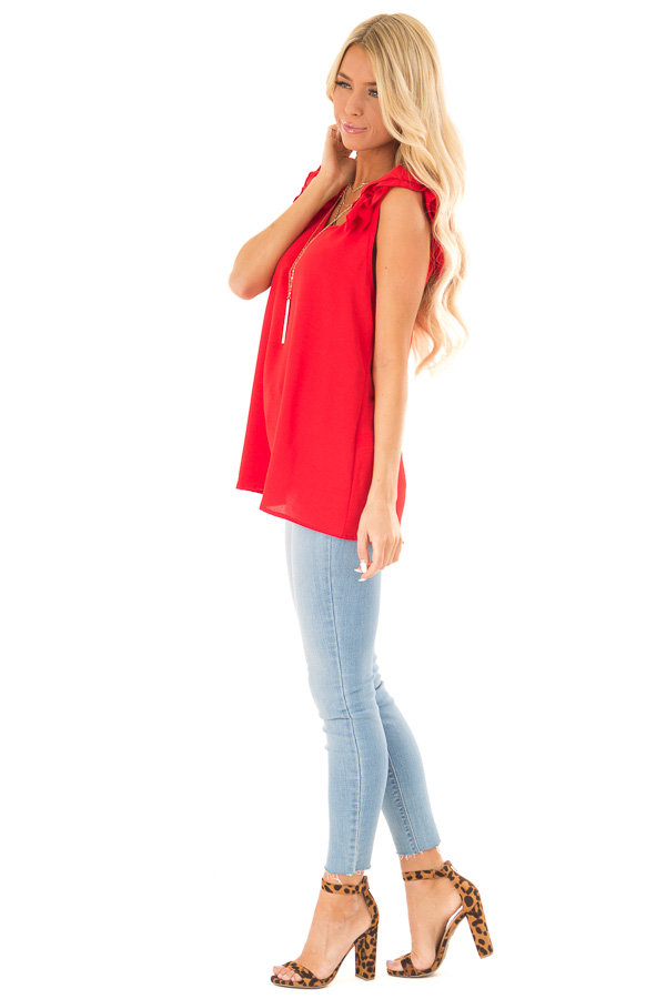 Firetruck Red V Neck Top with Ruffle Cap Sleeves side full body