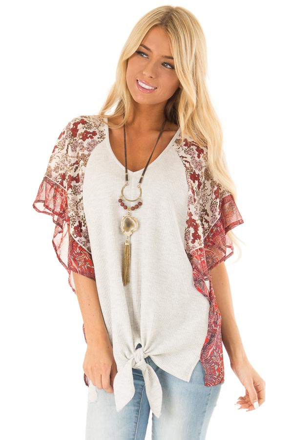 Eggshell Two Tone Top with Multi Print Sleeves and Front Tie front close up