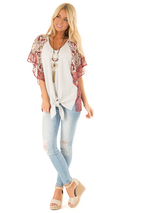 Eggshell Two Tone Top with Multi Print Sleeves and Front Tie front full body