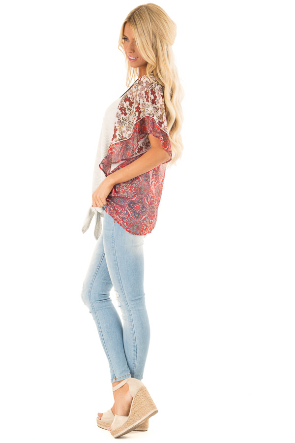 Eggshell Two Tone Top with Multi Print Sleeves and Front Tie side full body