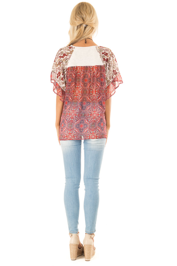 Eggshell Two Tone Top with Multi Print Sleeves and Front Tie back full body