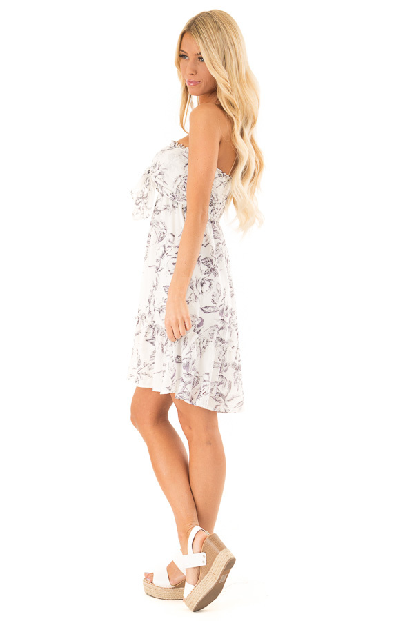 Lavender and White Floral Smocked Mini Dress with Knot side full body