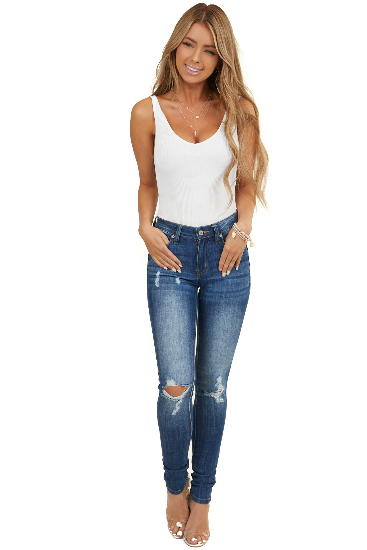 Midwash Skinny Denim Jeans with Distressed Details