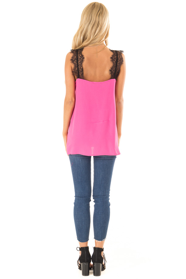 Hot Pink V Neck Tank Top with Eyelash Lace Detail back full body