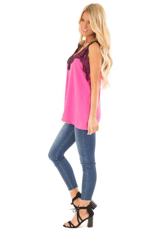 Hot Pink V Neck Tank Top with Eyelash Lace Detail side full body
