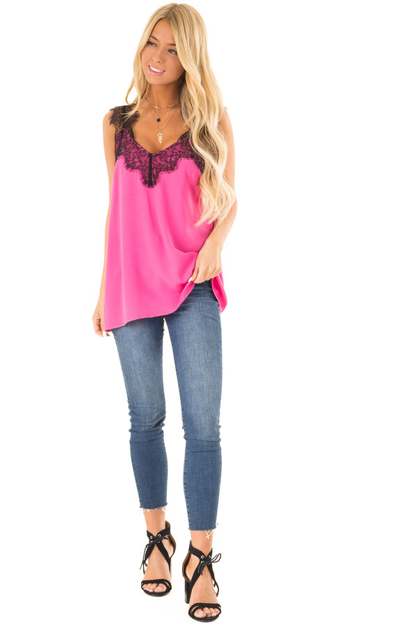 Hot Pink V Neck Tank Top with Eyelash Lace Detail front full body
