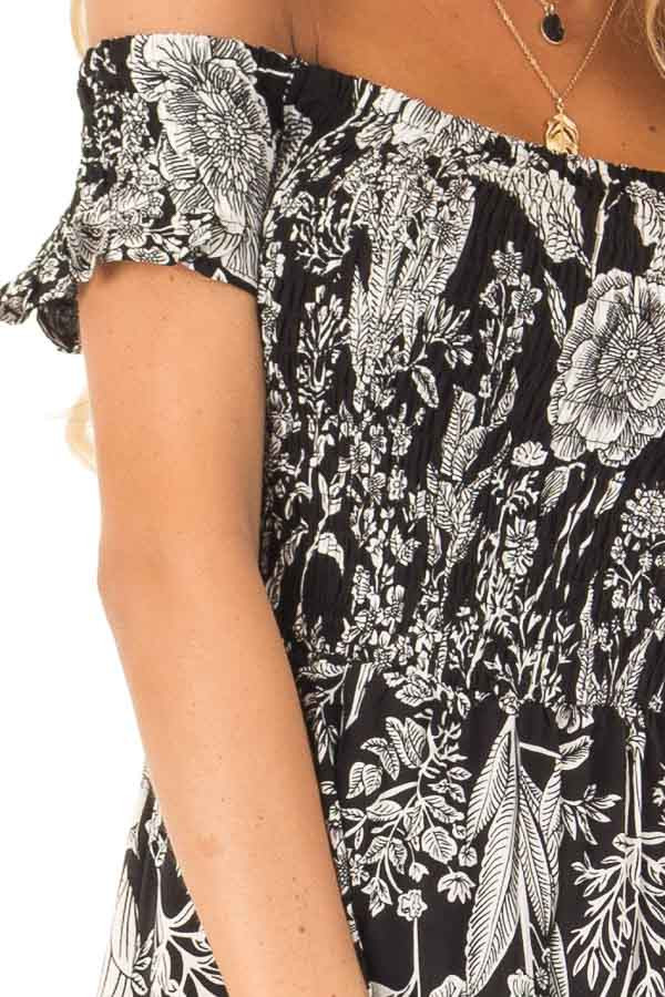 Black and Coconut White Smocked Maxi Dress with Floral Print detail