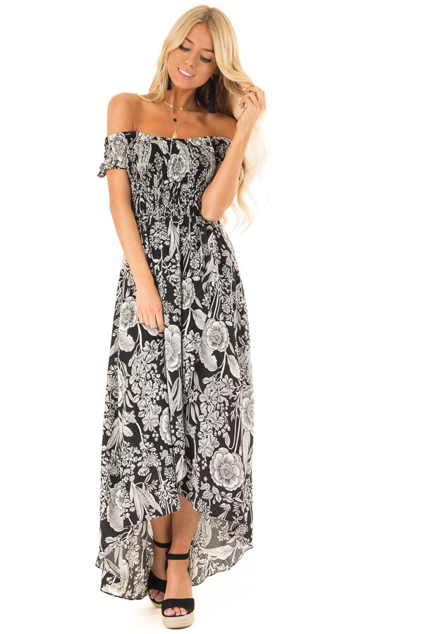 Black and Coconut White Smocked Maxi Dress with Floral Print front full body