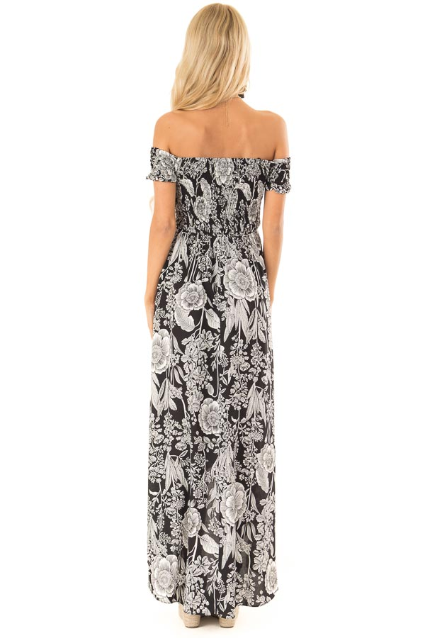 Black and Coconut White Smocked Maxi Dress with Floral Print back full body