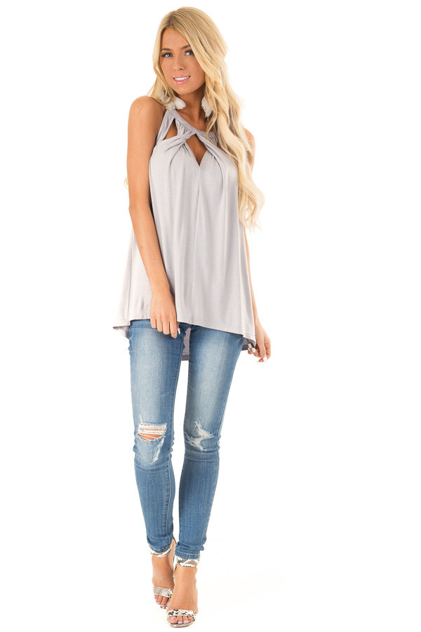 Cloud Grey Trapeze Tank with Twisted Chest Cutouts front full body