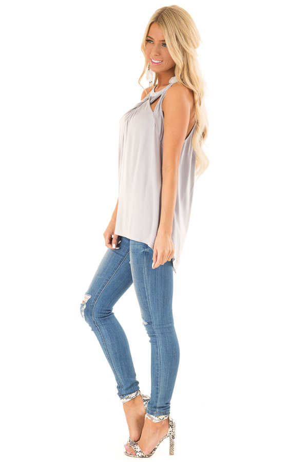 Cloud Grey Trapeze Tank with Twisted Chest Cutouts side full body