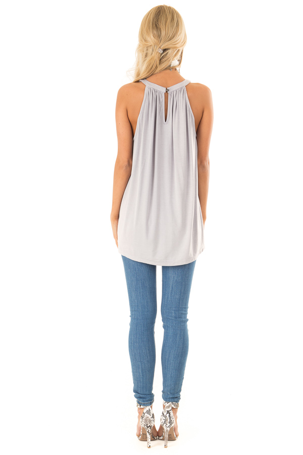 Cloud Grey Trapeze Tank with Twisted Chest Cutouts back full body