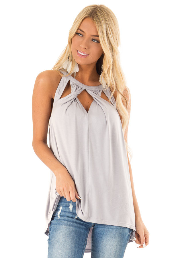 Cloud Grey Trapeze Tank with Twisted Chest Cutouts front close up