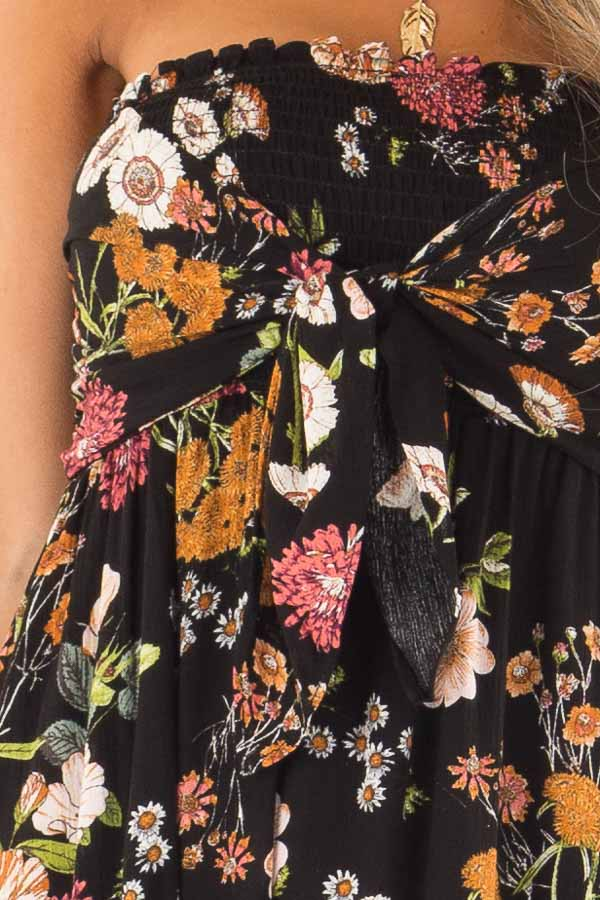 Midnight Black Floral Smocked Mini Dress with Knot detail