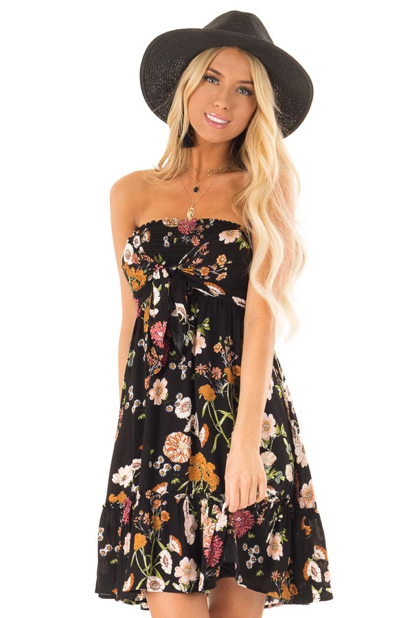 Midnight Black Floral Smocked Mini Dress with Knot front close up
